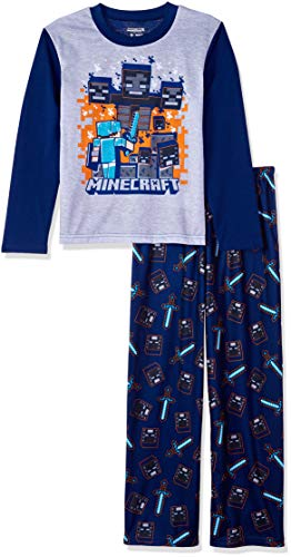 Minecraft Boys' Big Gaming 2-Piece Pajama Set, Gray, 8]()