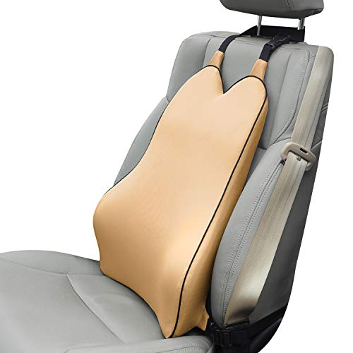 Dreamer Car Back Support Cushion with 2 Straps Designed for Car Seat,Balanced Softness High Density Memory Foam Lumbar Support Pillow with Ergonomic Streamline Designed for Sciatic Pain Relief,Yellow