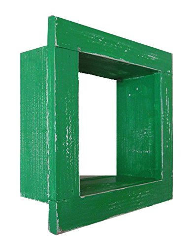 Square Wood / Wooden Shadow Box Display - 9'' x 9'' - Green - Decorative Reclaimed Distressed Vintage Appeal by IGC