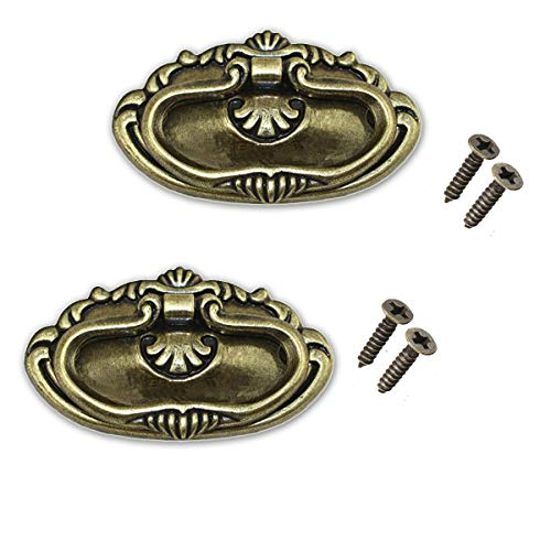 2pcs Vintage Antique Bronze Drawer Ring Pull Handles Knobs Hardware for Dresser Cabinet Door Furniture Drawers Bronze Hand Mission Hardware (Bronze)