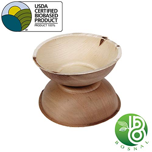 Bosnal Palm Leaf Planet Friendly Round Bowls; Upscale Disposable Dinnerware; All-Natural, Chemical Free, Compostable, Biodegradable Bowls; Ideal Alternative to Plastic and Paper- 6 Inch (25 pack)