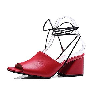 LvYuan Tacón Robusto-Gladiador Zapatos del club-Sandalias-Oficina y Trabajo Vestido Informal-Cuero-Negro Rojo Blanco Red
