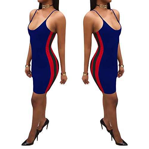 Lkous 3230 Women Blue Dress Bodycon Mini Sexy Spaghetti Strap rrwS0