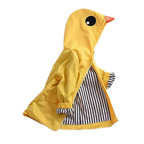 Adorable Toddler Kids Baby Boy Girl Duck Raincoat Cartoon Design Jacket Coat Fall Winter Hooded Outwear School Oufits (Yellow, 2T) ()