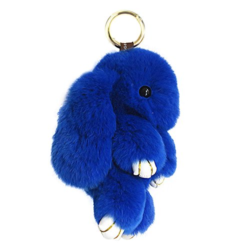 CHUANGLI Lovely Rabbit Doll Bunny Keychain Fur Plush Keyfob Decor for Car Accessories RoyalBlue (Blue Plush Bunny Rabbit)