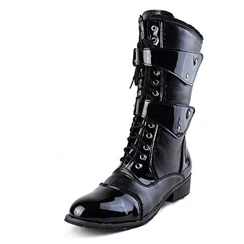 - Dig dog bone Men's Fashion Middle-Calf Boots Wax PU Leather High Buckle Decoration Side Zipper Lacing Up Shoes (Color : Black, Size : 7 D(M) US)
