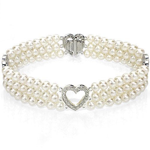 (14k White Gold Heart-shape Divider 4-4.5mm White Freshwater Cultured Pearl 3-rows Bracelet, 7
