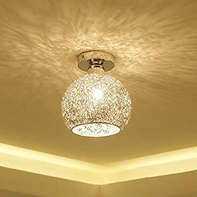 Gotian Elegant Modern Alloy Ceiling Light in Round Shape, Flushmount Light Fixture Warm Light, for Bedroom Bathroom 18cm/7.1inch