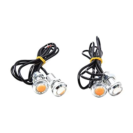 eDealMax 4pcs Color ámbar de Eagle Eye COB LED corriente Diurna del coche DRL luz de