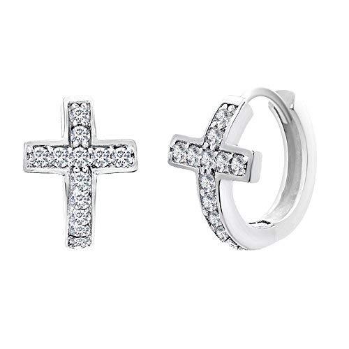 LESA MICHELE Cubic Zirconia Cross Huggie Style Hoop Earrings for Women in Rhodium Plated 925 Sterling Silver