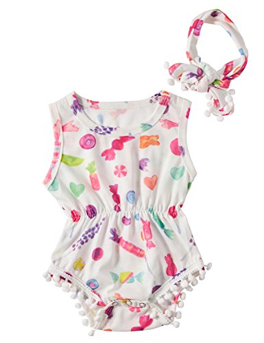Funnycokid Newborn Baby Girls Romper Infant Toddler Jumpsuit Playsuit + Headband