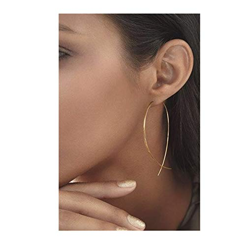 YRY Big Hoop Earrings Threader Copper Rose Gold Color Silver Color Fish Line Dangle Threader Earrings for Women Girl (Gold) (Fish Gold)