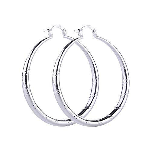 - Women Fashion 925 Sterling Solid Silver Ear Stud Hoop Earrings Wedding Jewelry (1.58 inch)