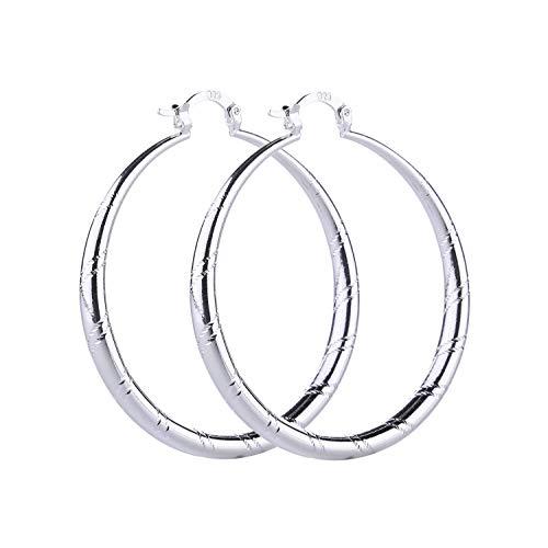 (Women Fashion 925 Sterling Solid Silver Ear Stud Hoop Earrings Wedding Jewelry (1.58 inch))