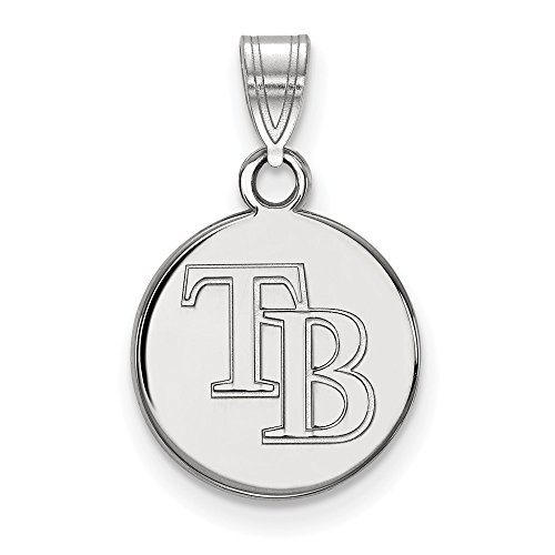 Roy Rose Jewelry 14K White Gold MLB LogoArt Tampa Bay Rays Small Disc ()