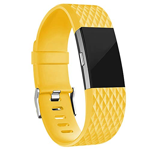 iGK Replacement Bands Compatible for Fitbit Charge 2, Adjustable Replacement Bands with Metal Clasp Special Edition Lemon-Yellow Large ()