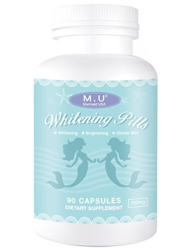 M.U Mermaid USA Whitening Pills for Skin 3 Times Effect of glutathione, Focus on Glowing brightening Smoothy Skin Support Dark spot Remover Acne Scar Remover from M.U