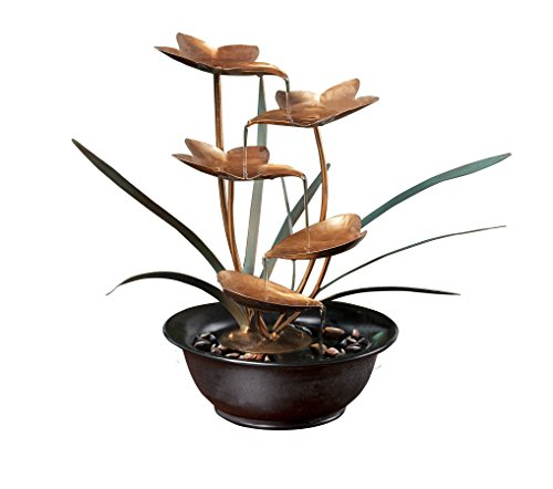 Alpine WCT916 Tiering Metal Leaf Tabletop Fountain, 13