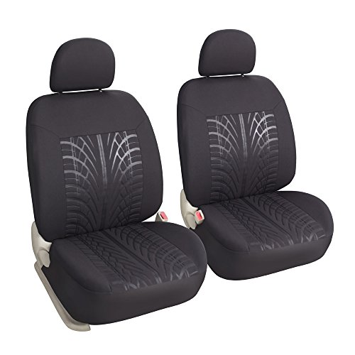 Leader Accessories Auto Universal 2 Front Seat Covers Low Back Seat Protector for Cars SUV Trucks Black - Airbag Compatible