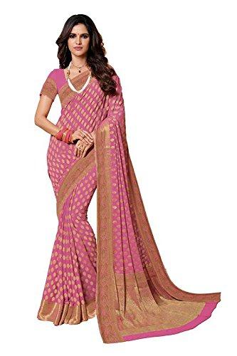 5021153ffe AASRI Women Purple Chiffon Zari Work Weaving Saree With Blouse Fabric