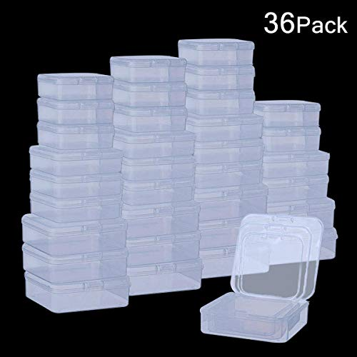 (DOMIRE 36Pack Plastic Beads Containers Clear Mini Square Bead Organizer Container Storage Box with Lids for Beads Pills Jewelry Findings, 3 Sizes)