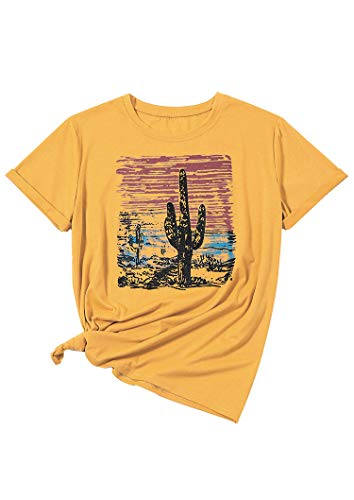 Sunset Yellow T-shirt - Women Funny Cactus Sunset Graphic T-Shirts Short Sleeve Summer Tops Tees (L) Yellow