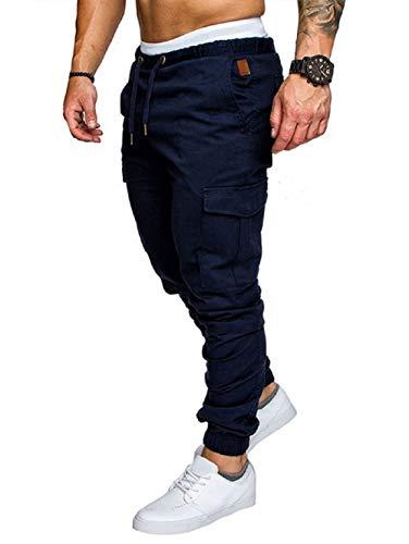 Icerom Men's Elastic Waist Jogger Sweatpants Activewear Sports Shorts Long Cargo Pants