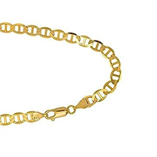 14k Gold Solid Mariner Chain Bracelet with Lobster Clasp (5.1mm) (9) by BH 5 Star