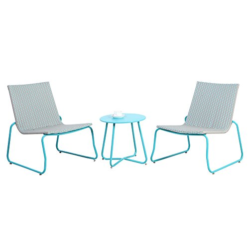 Grand patio Grand patio Belfort 3-Piece All Weather Rattan Wicker Bistro Set - Blue price tips cheap