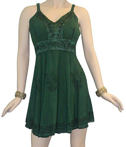 [1021 DR Agan Traders Gypsy Medieval Dress [Green, L]] (Green Medieval Dress)
