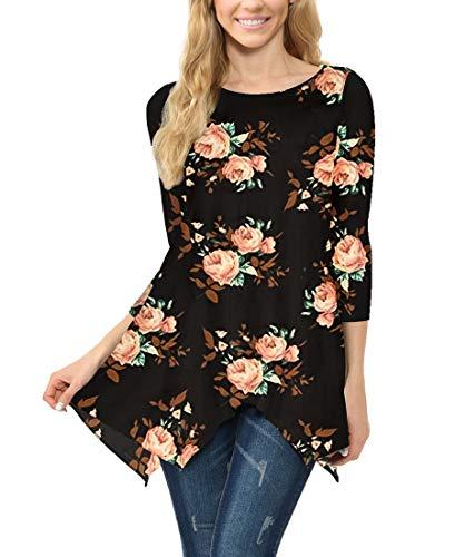 MIROL Women's Spring Floral Print 3/4 Sleeve Irregular Hem Asymmetrical Tunic Loose Long Blouse Tops (Large, ()
