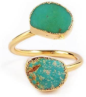 ZENGORI Pretty Natural Turquoise Wrap Adjustable Ring Gold Freeform Genuine Turquoise Ring