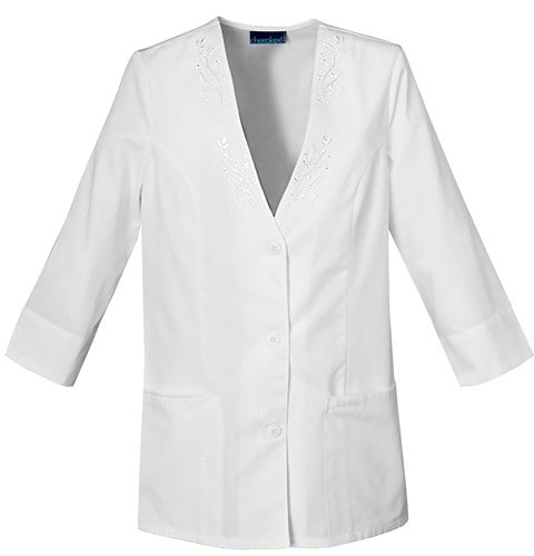 Cherokee Light and Lovely Collection Poplin 3/4 Sleeve Jacket Scrub Jackets Womens WHITE SMALL