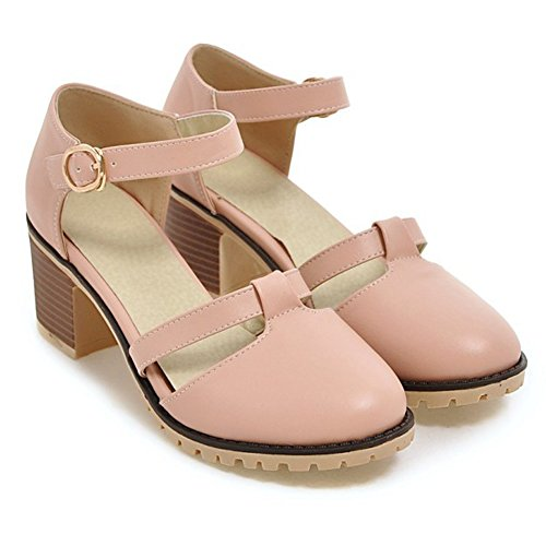 Plate-forme À Bout Rond Bout Rond Chaussures Femmes T-sangle Talon Chunky Pompes Rose