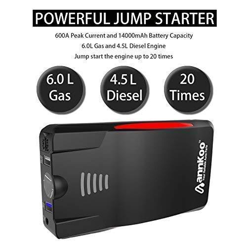 amazon com car jump starter annkoo an02 portable 600a peak current rh amazon com
