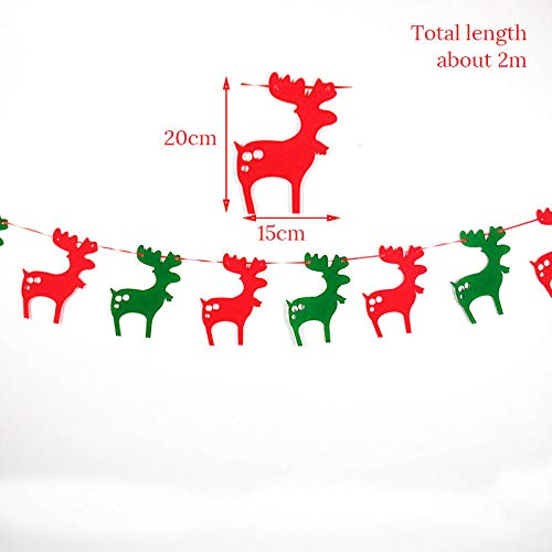 EHDDFH Merry Christmas Banners Xmas Decorations Bunting Flags Elk Sock Christmas Tree Garlands for DIY Home Event Party Supplies Style -