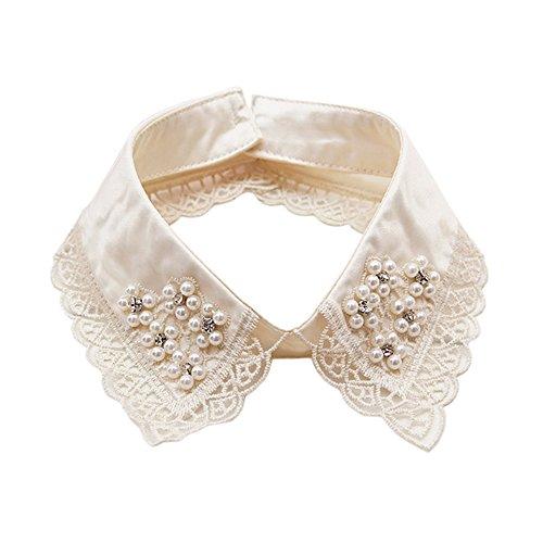 Vpang Detachable Blouse False Collar Lace Pearl Flower Fake Collar Choker Peter Pan Necklace