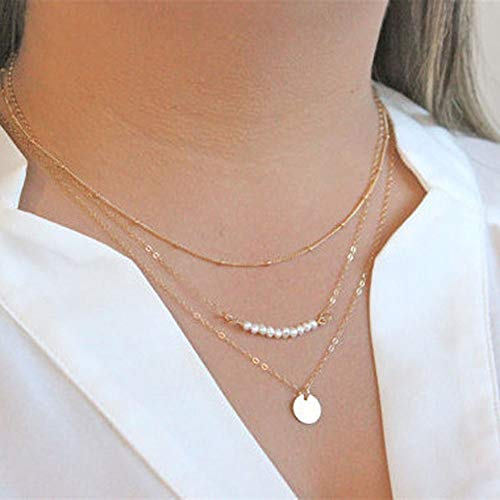 - Jovono Fashion MultiLayered Necklaces Pearl Sequins Jewelry Necklace Chains For Women and Girls