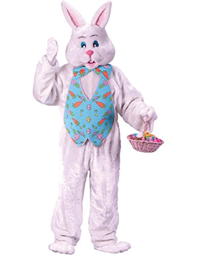 FunWorld Bunny Deluxe Adult Costume White with Blue Easter Vest and Mascot Head, Large -