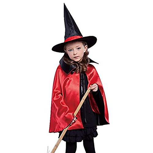Womens Halloween Witch Cloak Party Costume Cape Coat Shawl for Children Kids (35.4