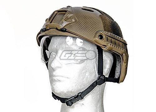 40N, FAST Helmet PJ Type with Google (BASIC VERSION w/VISOR) DE CUSTOM, Dark Earth ()