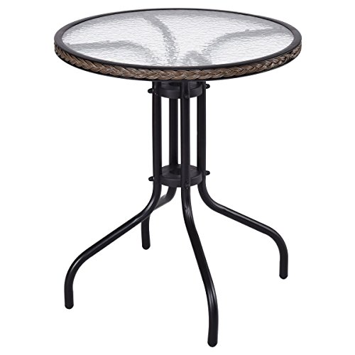 MyEasyShopping Patio Round Table Tempered Glass Furniture Outdoor Dining Coffee Steel Deck Top by MyEasyShopping