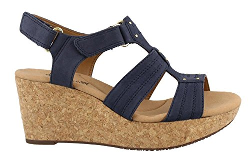 Blue Wedge Shoes - CLARKS Women's Annadel Orchid Wedge Sandal, Navy, 9 M US