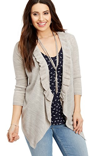 maurices Women's Ruffle Front Cardigan X Small Oatmeal