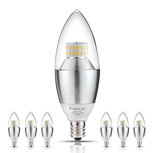 LED Candelabra Bulb, LOHAS 6-Watt Dimmable Warm White 2700K LED Chandelier Bulb, 60-Watt Light Bulbs Equivalent, E12 Candelabra Base LED Light Bulbs, 550 Lumens LED Lights, Torpedo Shape (Pack of - Chandelier Candelabra Light 6