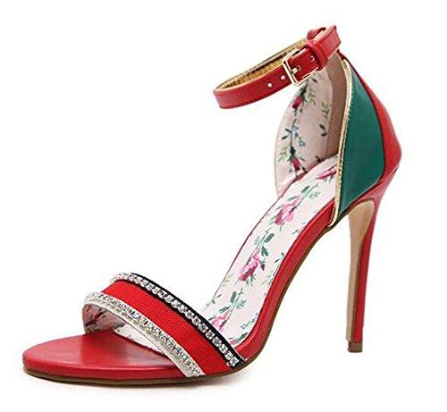 Fête Robe sandales 43 EU36 Chaussures Taille femmes xie 35 Heel Stiletto pour Multicolore à Strass RED Pompes club Des gIqaYvU