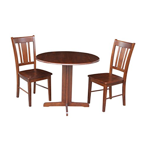 International Concepts Dual Drop Leaf Table with 2-San Remo Chairs, 36-Inch, Espresso, Set of - Leaves Dual Drop