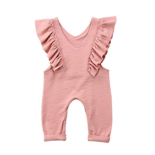 XARAZA Toddler Baby Girl Ruffle Loose Jumpsuit Romper Overalls Long Pants Clothes Outfits (Pink, 1-2 T)]()