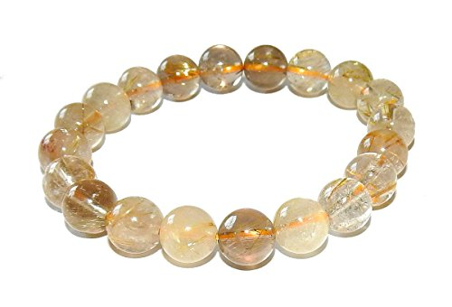 10mm Rutilated Quartz Bracelet 01 Gorgeous Natural Healing Spiritual Crown Chakra Crystal Energy (Gift Box) (6.75) ()