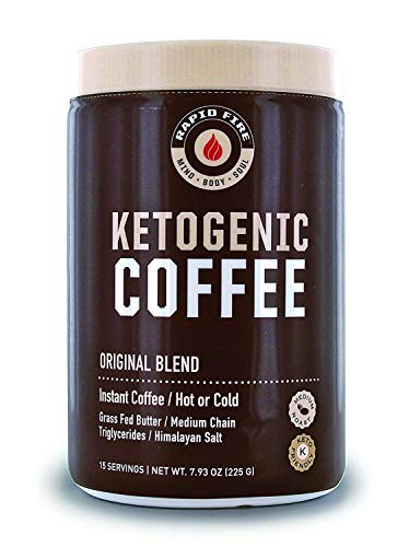 (Rapid Fire Ketogenic Fair Trade Instant Keto Coffee Mix, Supports Energy & Metabolism, Weight Loss, Ketogenic Diet 7.93 oz. Canister (15)